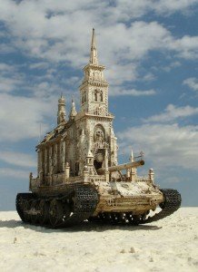 An Artist Superimposes The World Of War With That Of Religion By Making church-Tanks-4