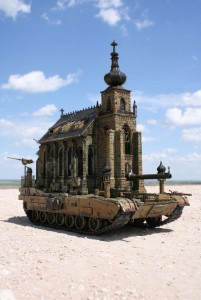An Artist Superimposes The World Of War With That Of Religion By Making church-Tanks-6