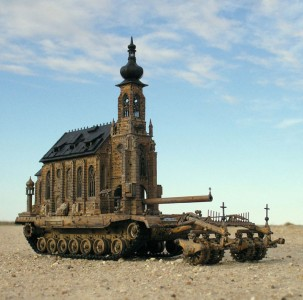 An Artist Superimposes The World Of War With That Of Religion By Making church-Tanks-7
