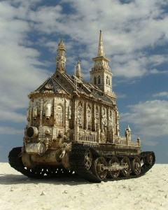 An Artist Superimposes The World Of War With That Of Religion By Making church-Tanks-9