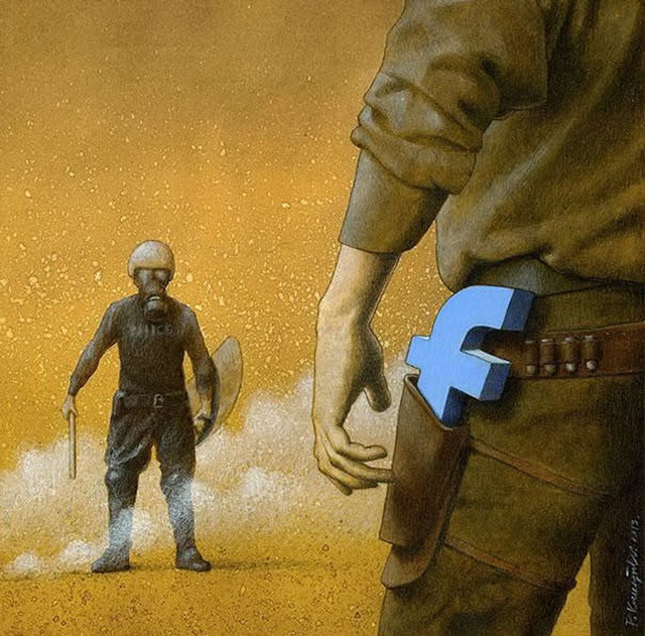 Pawel Kuczynksi satirical illustrations denounce the horrors and paradoxes of the modern world-