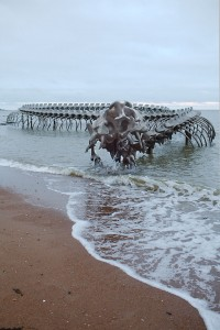 A Giant Aluminium Made Skeleton Of Serpent On the Beach of Loire, France-10