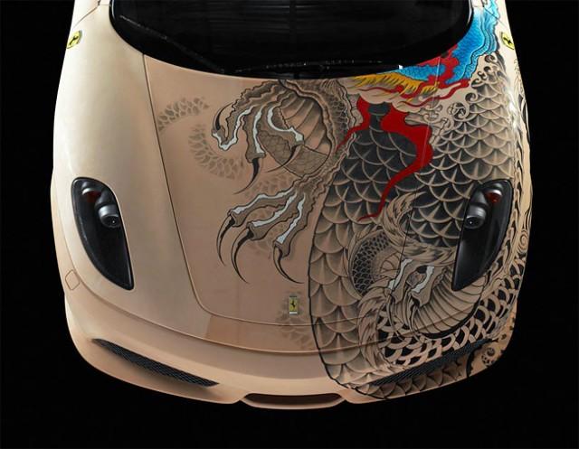 See The Shining Colours Of Beautiful Tattooed Ferrari -2