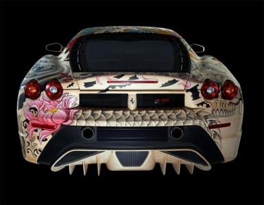 See The Shining Colours Of Beautiful Tattooed Ferrari -3