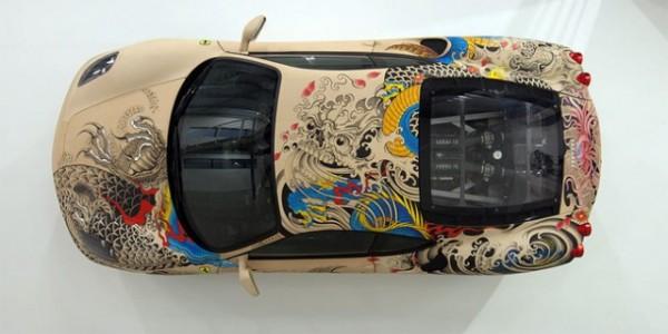 See The Shining Colours Of Beautiful Tattooed Ferrari -4