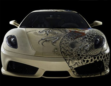 See The Shining Colours Of Beautiful Tattooed Ferrari -7