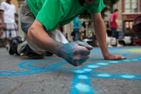 A Street Artist Makes A Series Of Mesmerizing Drawings Using Colored Sand-