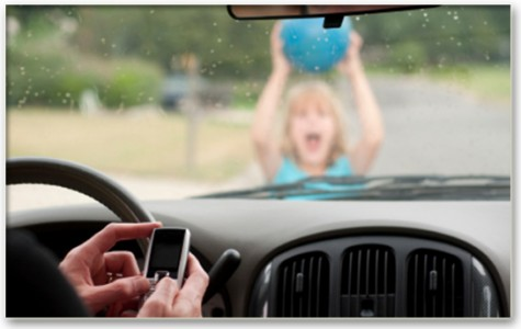 Driver Texting While A Child walks
