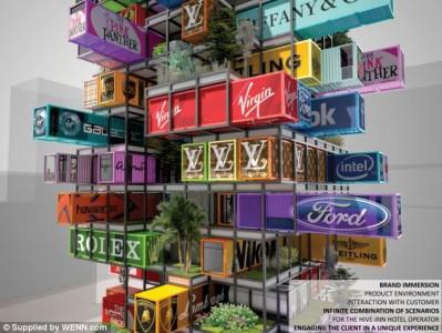 Jenga buildings for advertisement