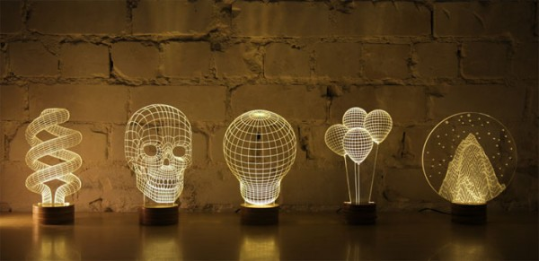 BULBING: A Flat LED Lamp That Gives ILLUSION Of 3D Shapes-6