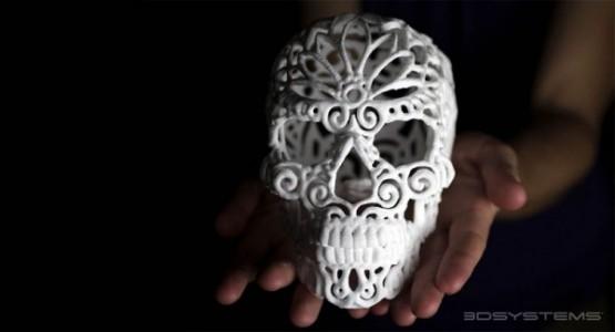 skull from 3D printed sugar cube