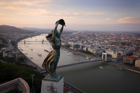 The Statue of Liberty, Budapest, Hungary-21 Most Beautiful Places Photographed By Drones Where Overflight Is Illegal Today-13