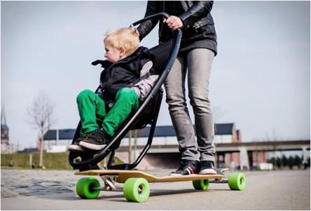 Longboardstroller, a stroller-skateboard combined-