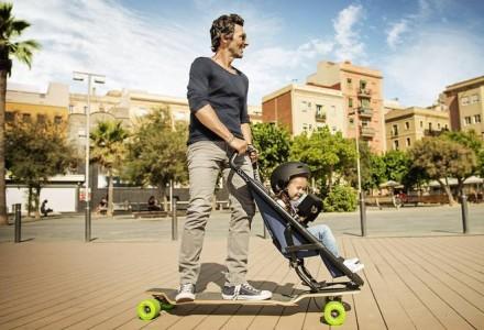 Longboardstroller, a stroller-skateboard combined-1
