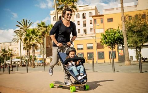 Longboardstroller, a stroller-skateboard combined-2