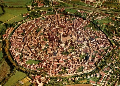 The German town of Nördlingen, built on the crater of a meteorite dates back 14 million years