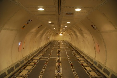 The empty interior of a Boeing 757 FedEx