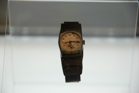A watch belonging to the Japanese Akito Kawagoe. It stopped at 8:15, the exact time of the explosion of the nuclear bomb in Hiroshima August 9, 1945.