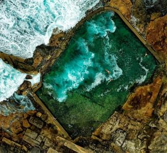 Swimmers on the coast near Sydney, Australia
