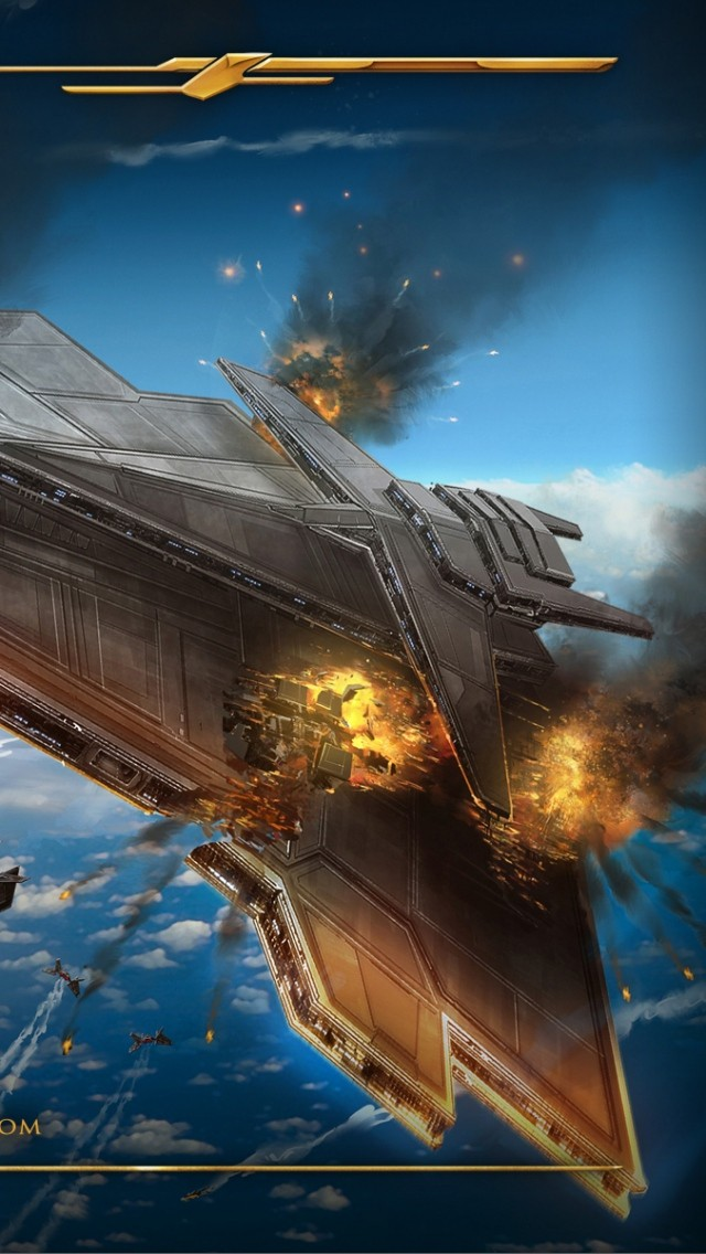 star wars the old republic airships battle explosion planet 21271 640x1136
