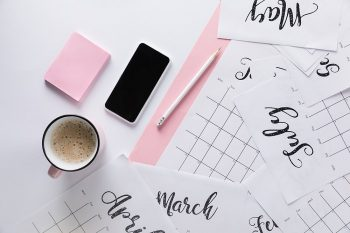 1 Desk with calendar sheets