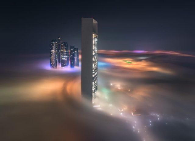 Skyscraper in fog in Dubai