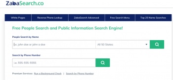 ZabaSearch Homepage 1