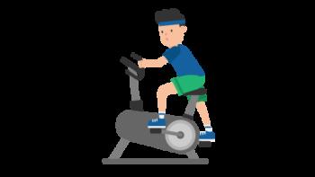 512px Man on an Exercise Bike Cartoon