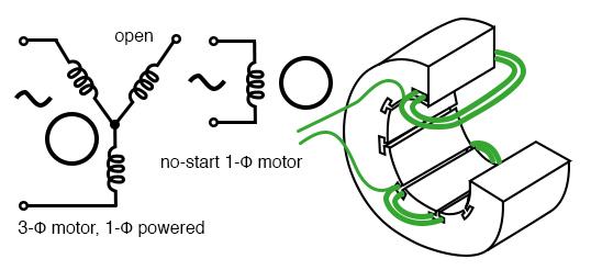 3-φ motor runs from 1-φ power but does not start