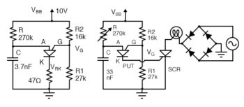 PUT relaxation oscillator with component values