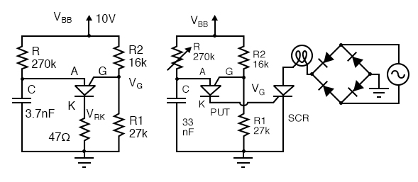 PUT relaxation oscillator with component values. PUT drives SCR lamp dimmer.