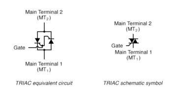 TRIAC SCR equivalent and TRIAC schematic symbol