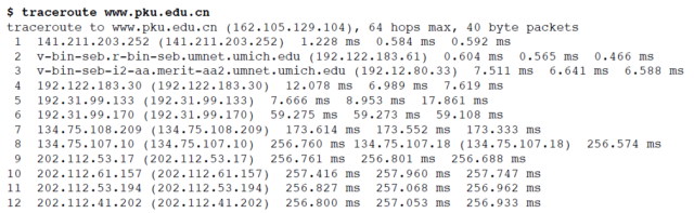 Traceroute from Michigan To Peking University