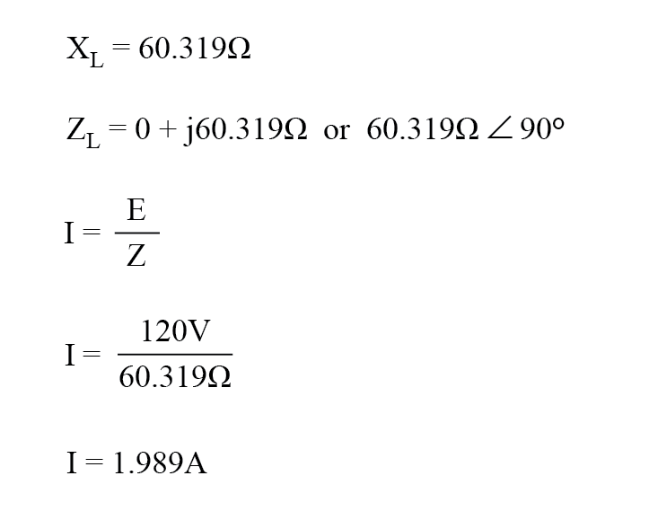 ac circuit purely reactive load equation