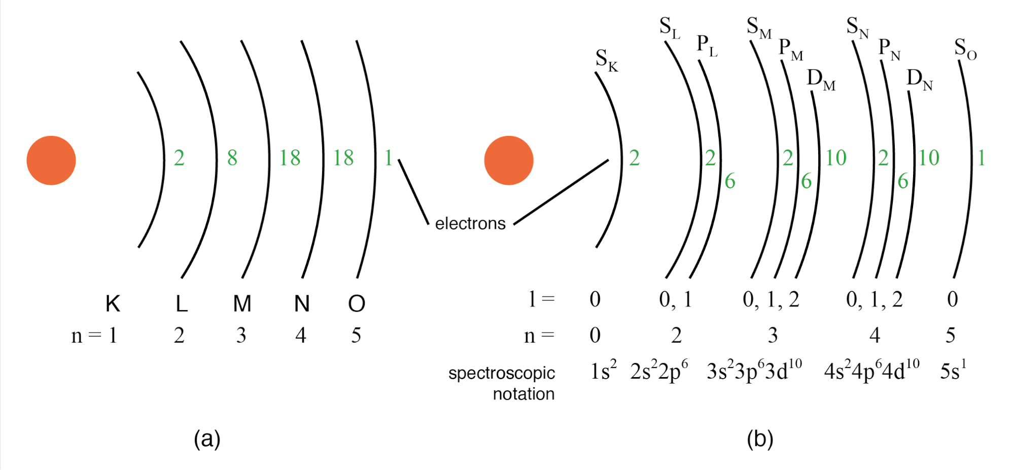 (a) Bohr representation of Silver atom, (b) Subshell representation of Ag with division of shells into subshells (angular quantum number l). This diagram implies nothing about the actual position of electrons, but represents energy levels.