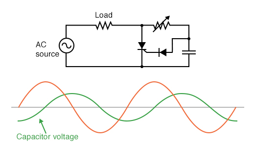 Addition of a phase-shifting capacitor to the circuit