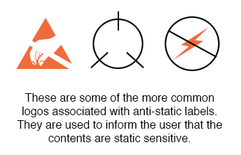 anti static labels logos