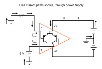 bias current paths shown through power supply