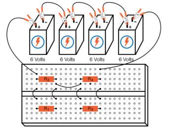 breadboard with four resistors alternative layout