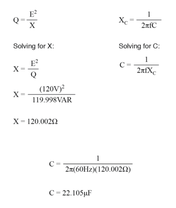 calculate correct capacitor size