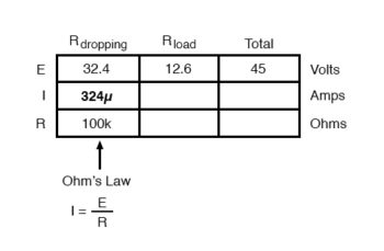 calculating load resistance for certain dropping resistors table3