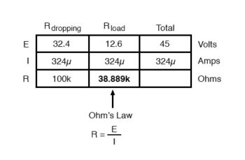 calculating load resistance for certain dropping resistors table5
