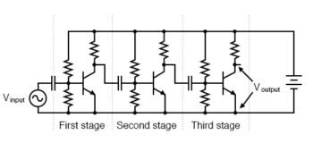 capacitor coupled three stage common emitter amplifier