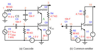 cascode and common emitter for comparison