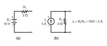 circuit conventional voltage sources a and b