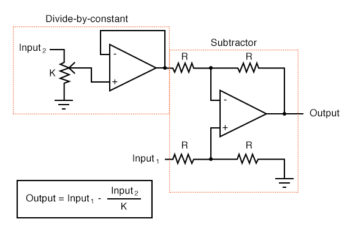 combining a divide by constant circuit with a subtractor circuit