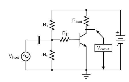 Common-emitter amplifier without feedback.