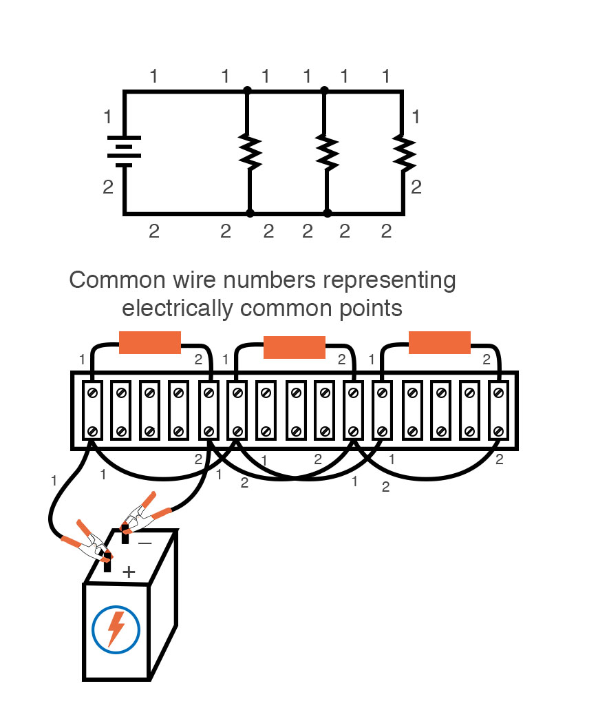 common wire numbers representing electrically common points