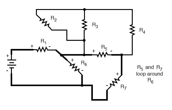 complex circuit diagram resistors loop around