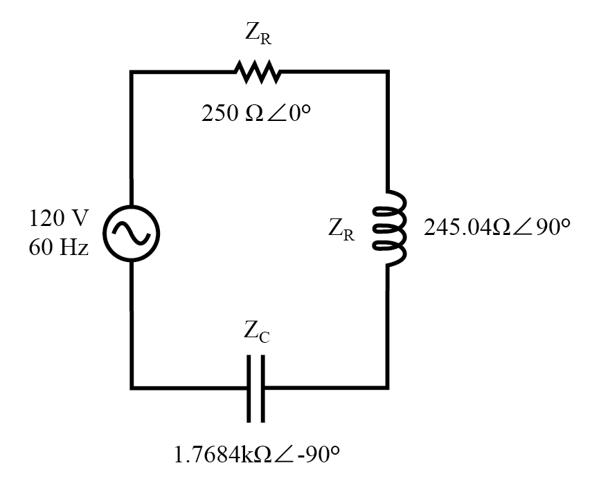 Example series R, L, and C circuit with component values replaced by impedances.